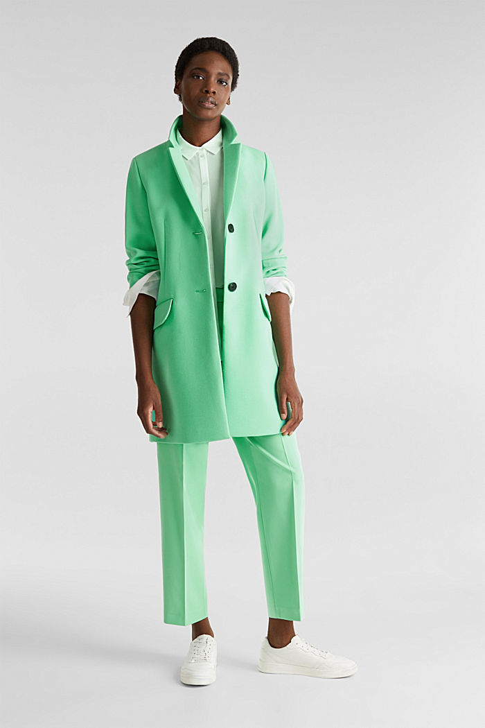 Blazer coat with a fine texture, LIGHT GREEN, detail image number 1
