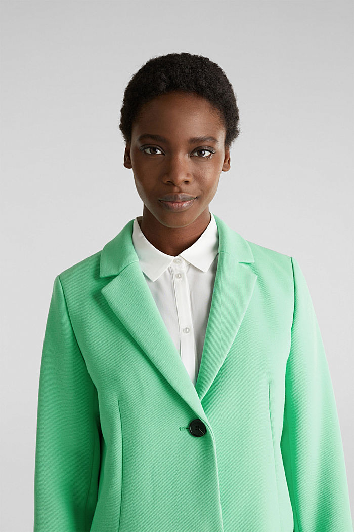 Blazer coat with a fine texture, LIGHT GREEN, detail image number 6