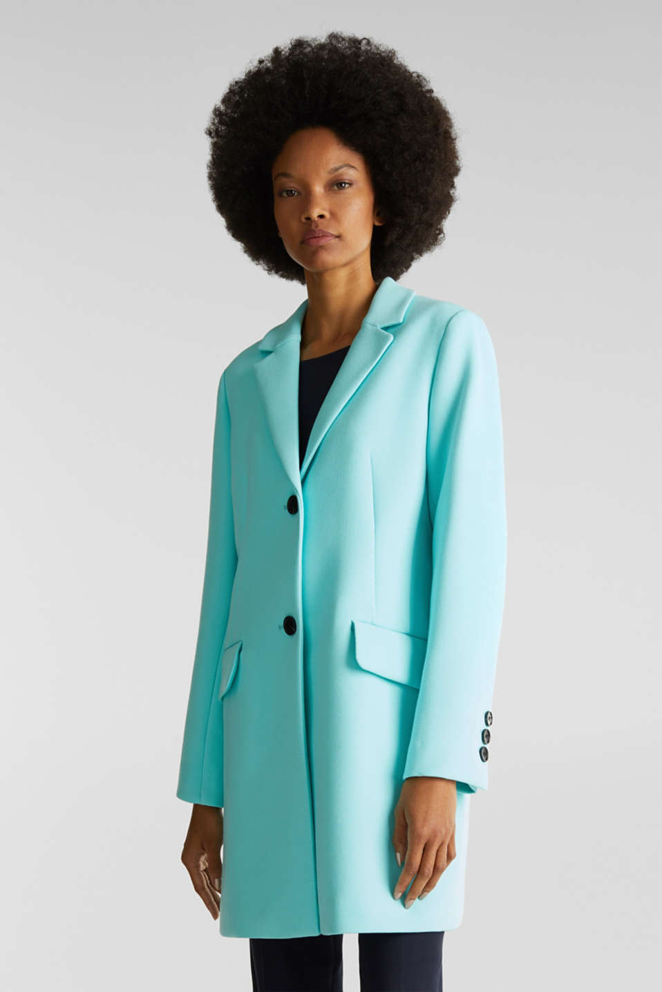 Blazer coat with a fine texture, LIGHT TURQUOISE, detail image number 0
