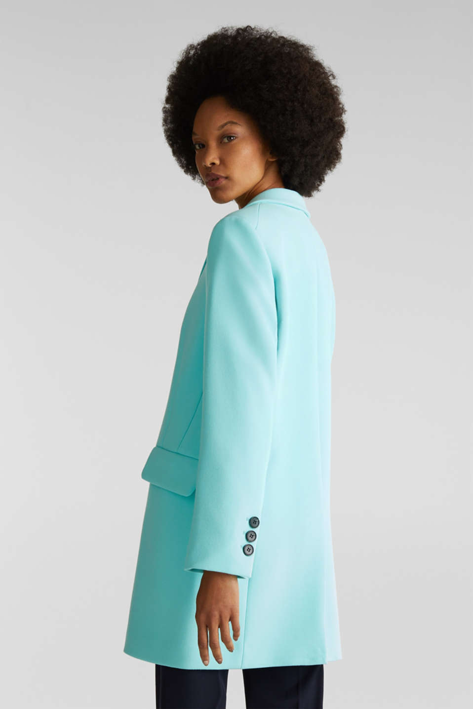 Blazer coat with a fine texture, LIGHT TURQUOISE, detail image number 3