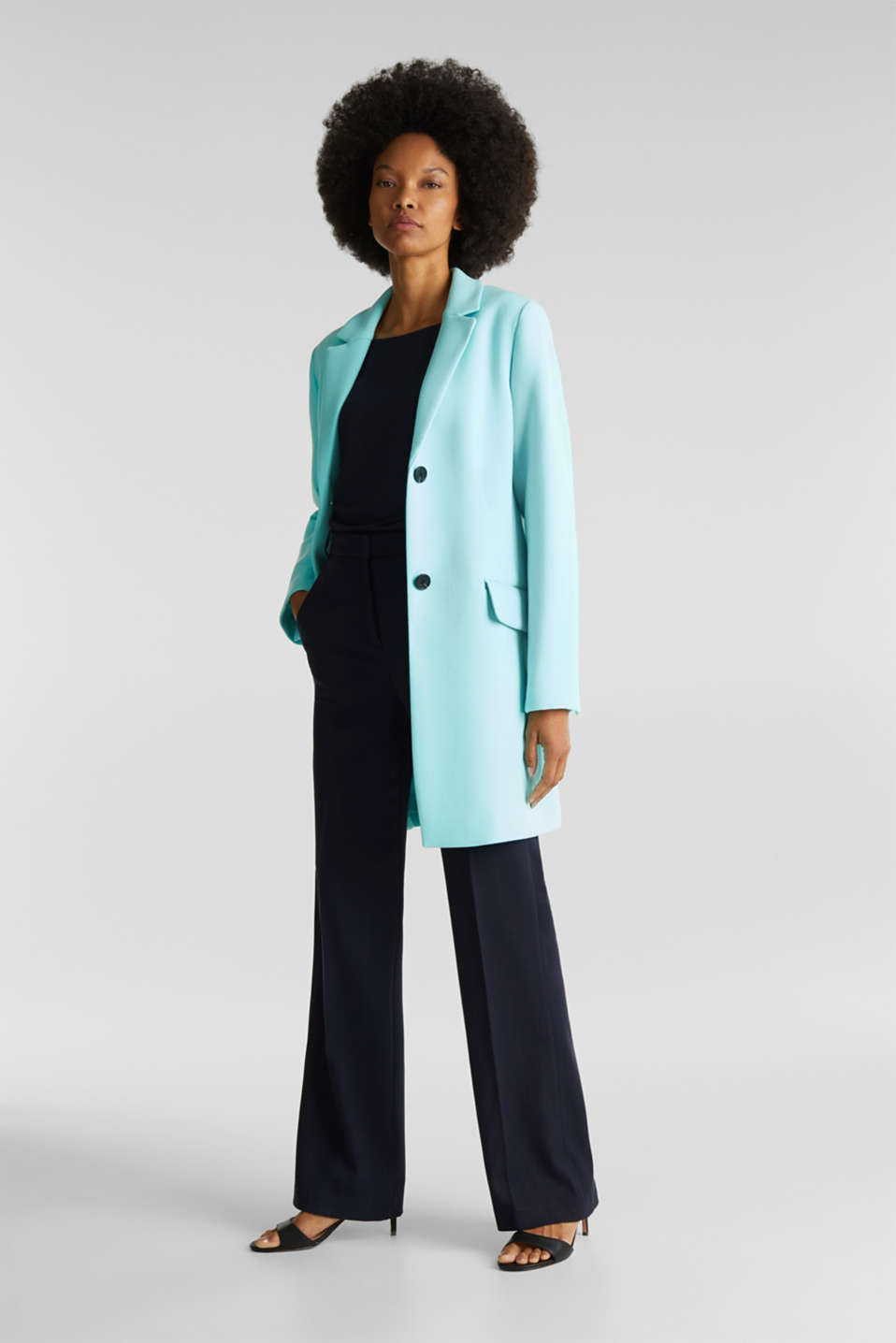 Blazer coat with a fine texture, LIGHT TURQUOISE, detail image number 1
