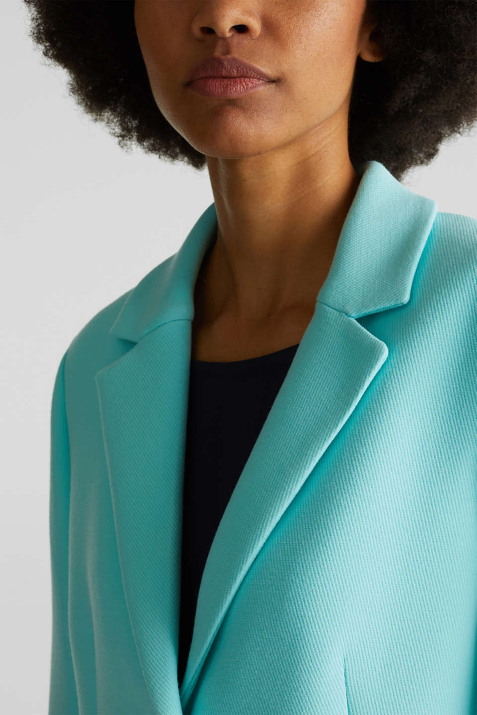 Blazer coat with a fine texture, LIGHT TURQUOISE, detail image number 2