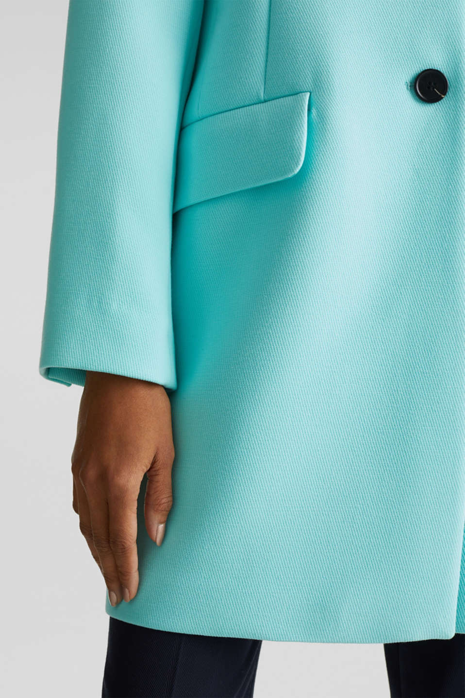 Blazer coat with a fine texture, LIGHT TURQUOISE, detail image number 5