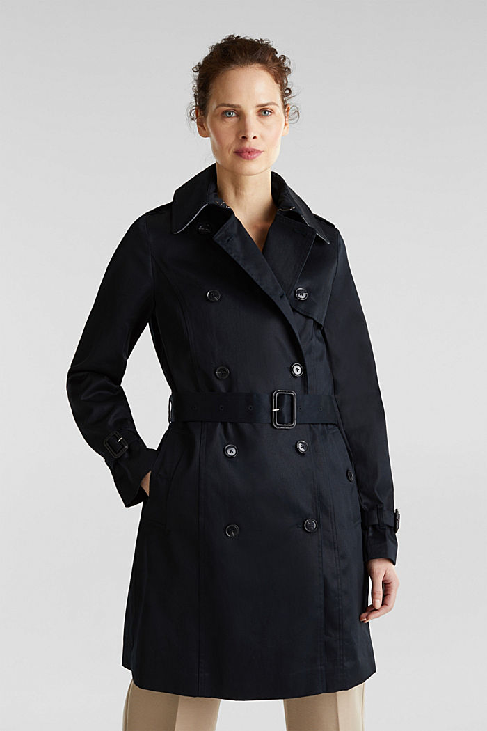 Double-breasted trench coat, 100% cotton, BLACK, detail image number 0