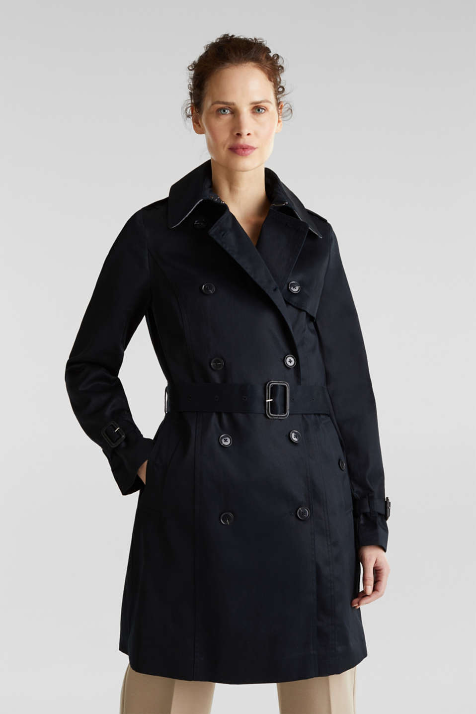 Esprit - Double-breasted trenchcoat, 100% katoen