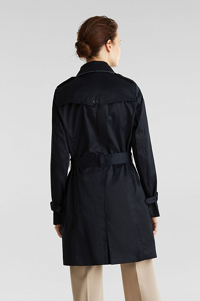 Double-breasted trench coat, 100% cotton, BLACK, detail image number 3