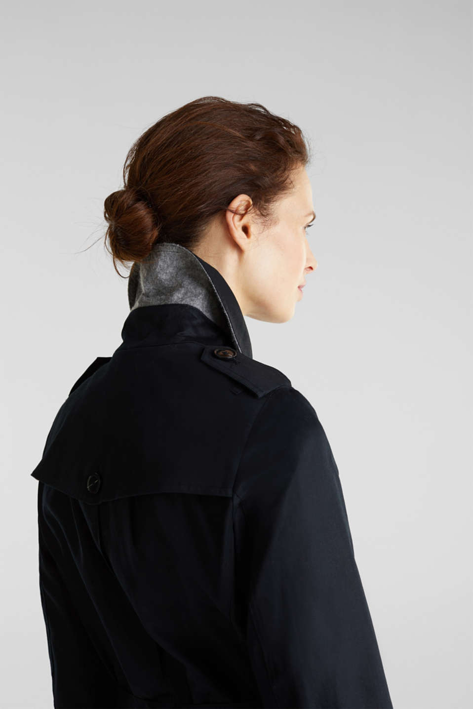 Double-breasted trench coat, 100% cotton, BLACK, detail image number 2
