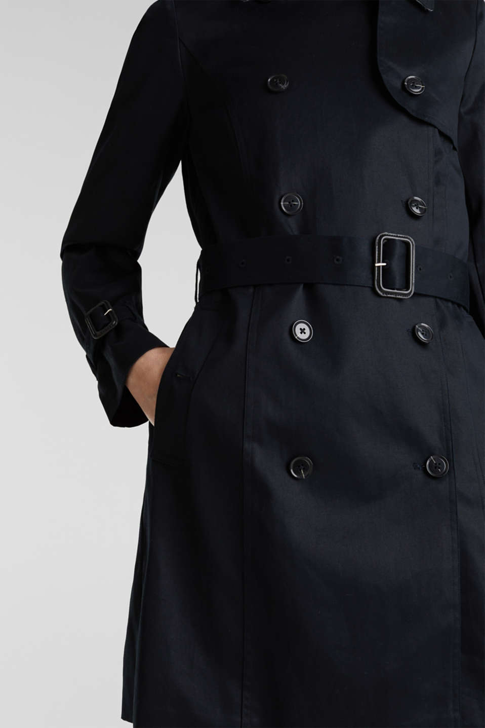Double-breasted trench coat, 100% cotton, BLACK, detail image number 5
