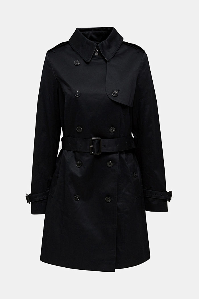 Double-breasted trench coat, 100% cotton, BLACK, detail image number 7