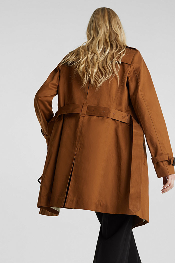 Zweireihiger Trenchcoat, 100% Baumwolle, TOFFEE, detail image number 2
