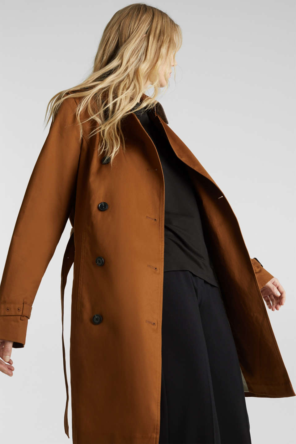 Double-breasted trench coat, 100% cotton, TOFFEE, detail image number 5