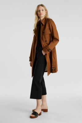 Double-breasted trench coat, 100% cotton, TOFFEE, detail