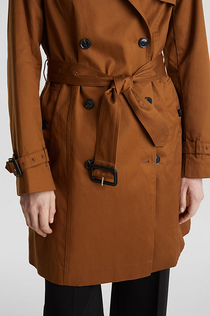 Zweireihiger Trenchcoat, 100% Baumwolle, TOFFEE, detail image number 4