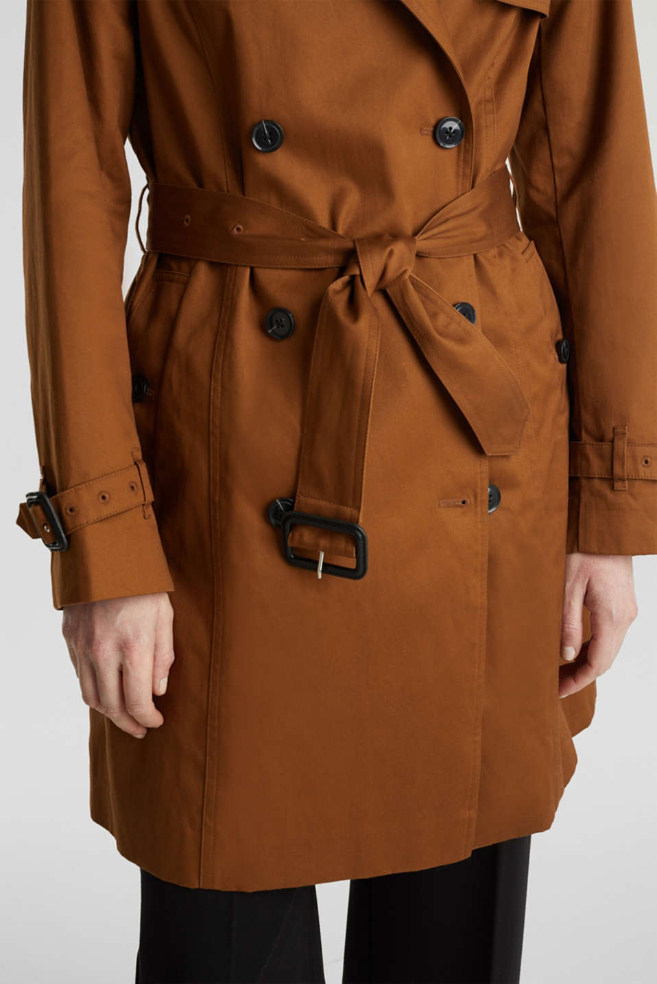 Double-breasted trench coat, 100% cotton, TOFFEE, detail image number 4