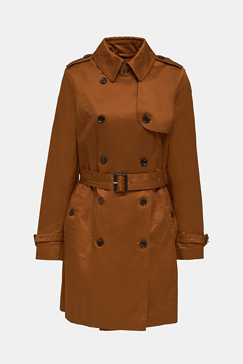 Double-breasted trench coat, 100% cotton