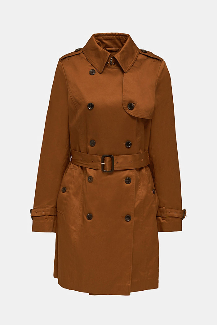 Zweireihiger Trenchcoat, 100% Baumwolle, TOFFEE, detail image number 6