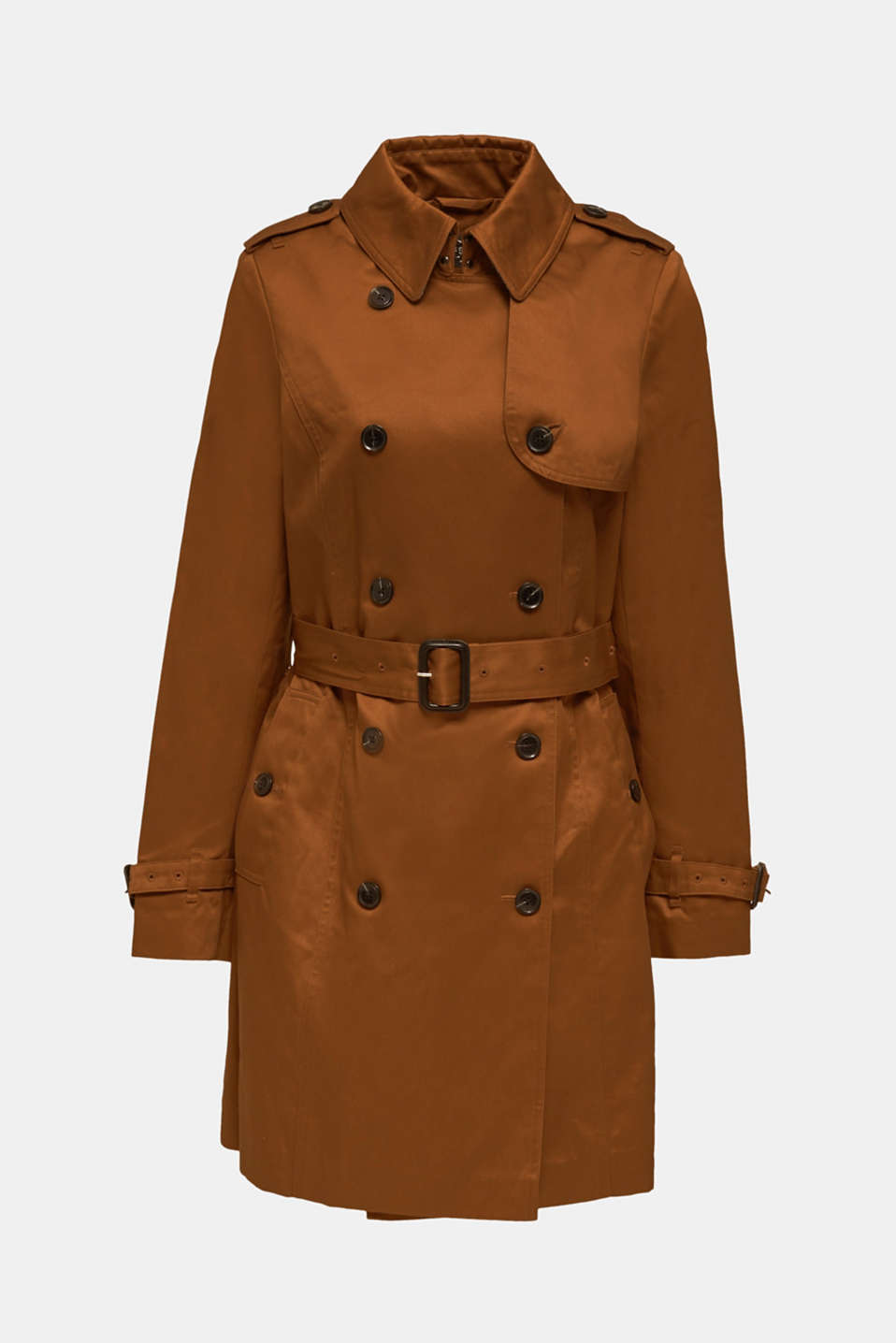 Double-breasted trench coat, 100% cotton, TOFFEE, detail image number 6