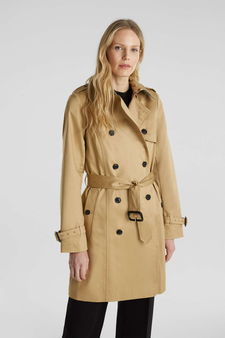 Esprit - Double-breasted trench coat, 100% cotton