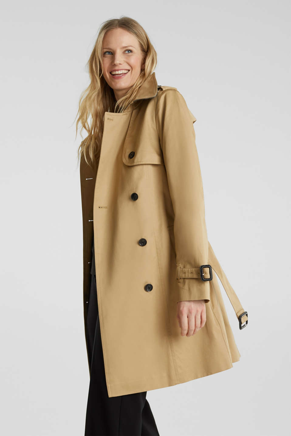 Double-breasted trench coat, 100% cotton, BEIGE, detail image number 4