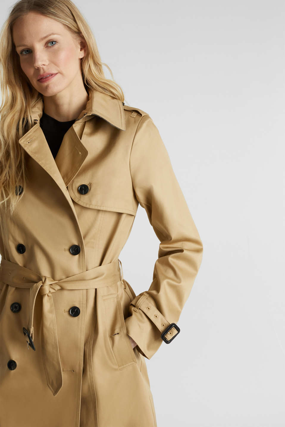 Double-breasted trench coat, 100% cotton, BEIGE, detail image number 6