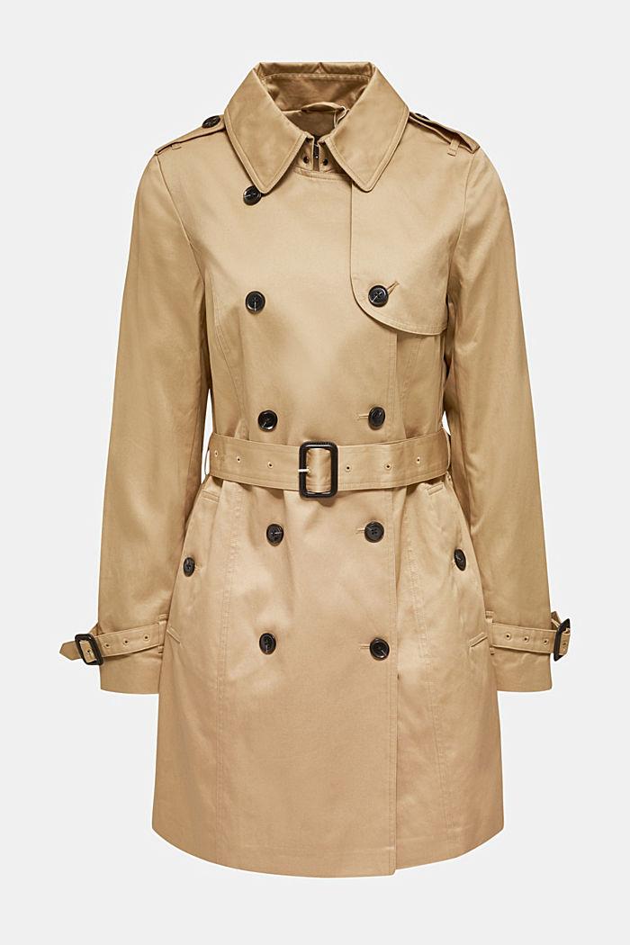 Zweireihiger Trenchcoat, 100% Baumwolle