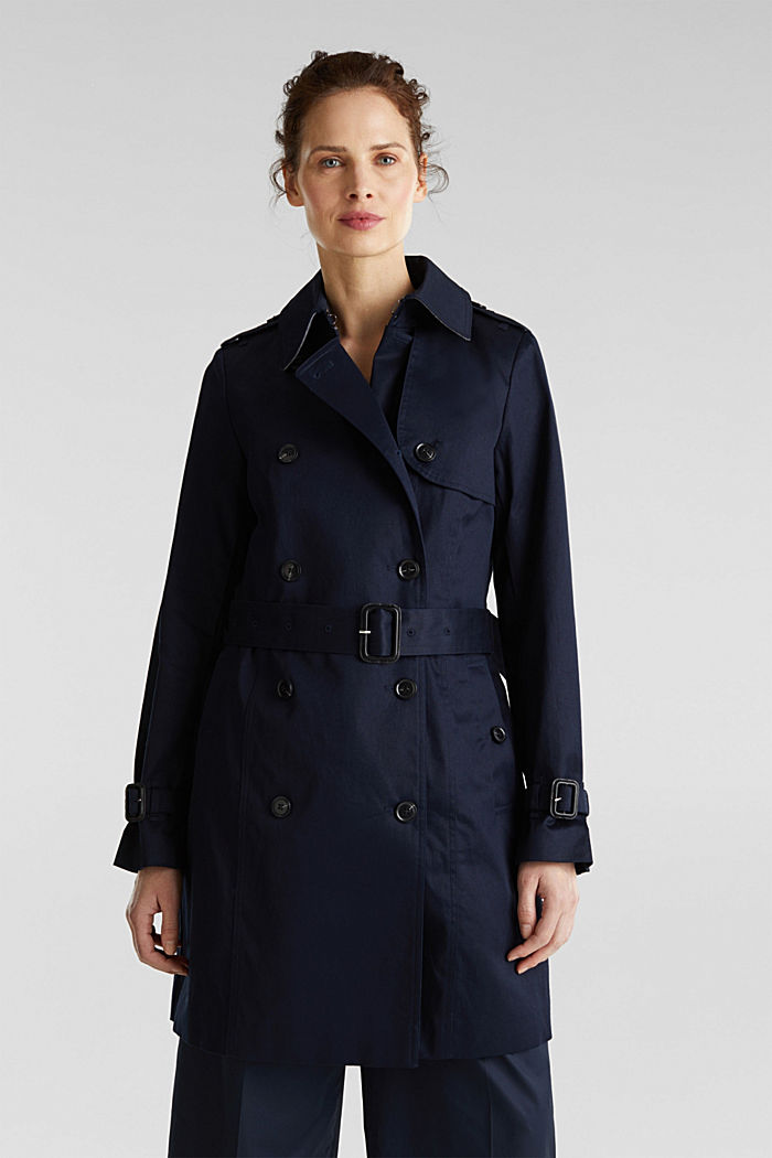Double-breasted trench coat, 100% cotton, NAVY, detail image number 0