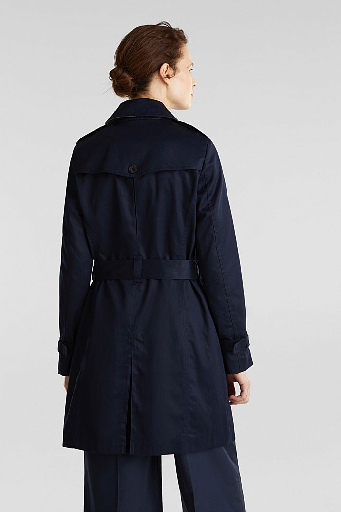 Double-breasted trench coat, 100% cotton, NAVY, detail image number 2