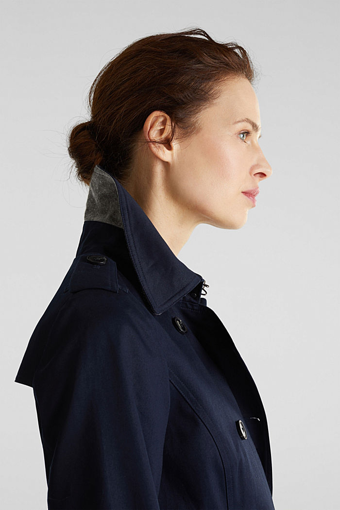 Double-breasted trench coat, 100% cotton, NAVY, detail image number 1