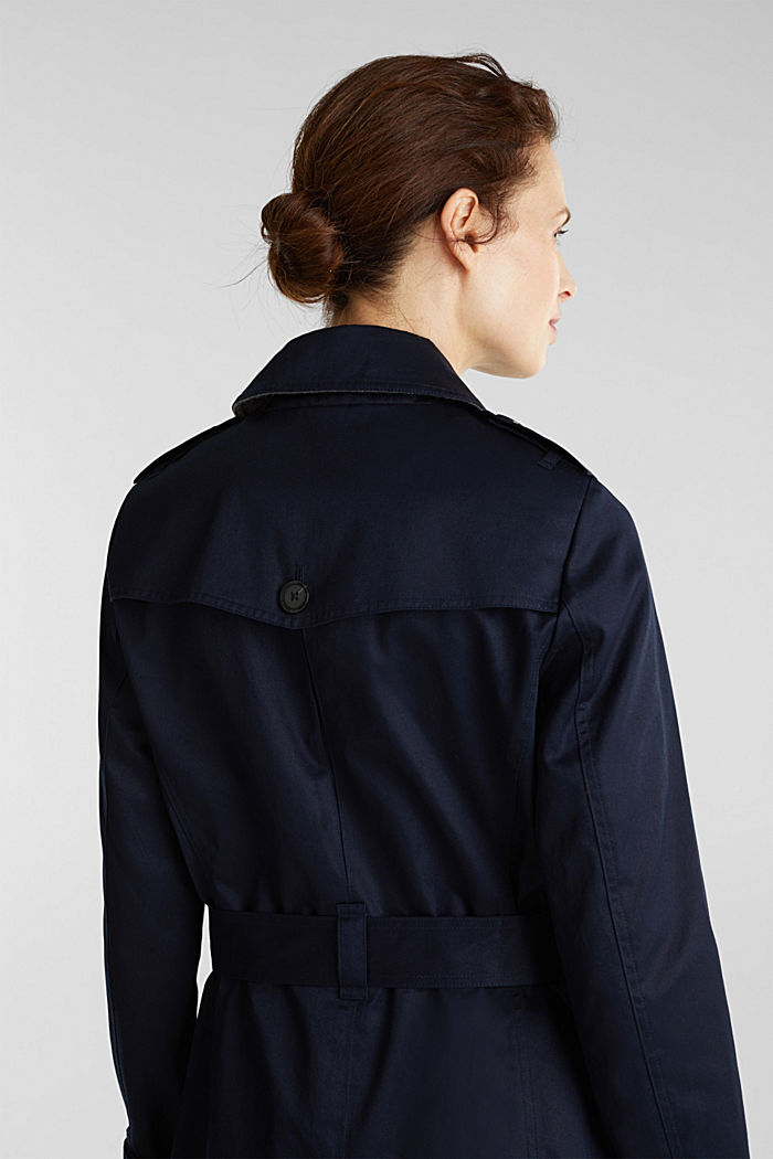 Double-breasted trench coat, 100% cotton, NAVY, detail image number 4