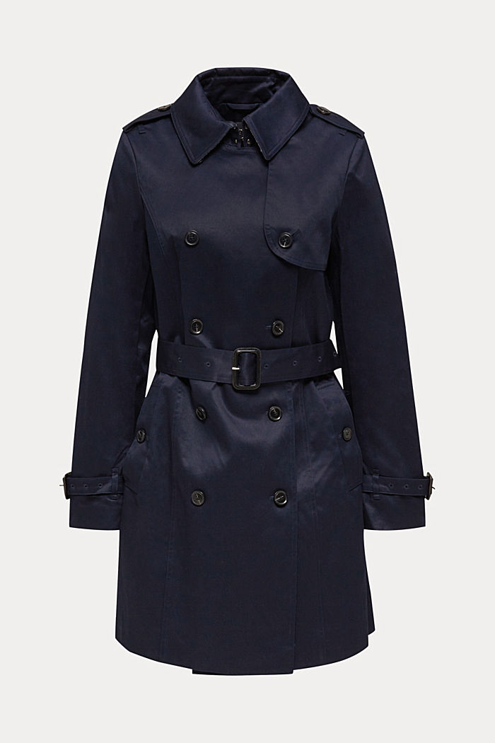 Double-breasted trench coat, 100% cotton, NAVY, detail image number 5