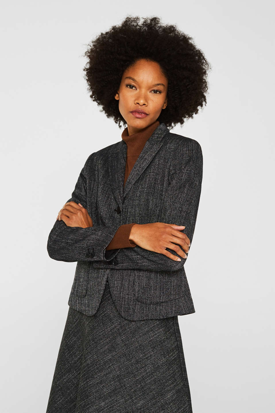 Esprit - Blazer in a salt and pepper look