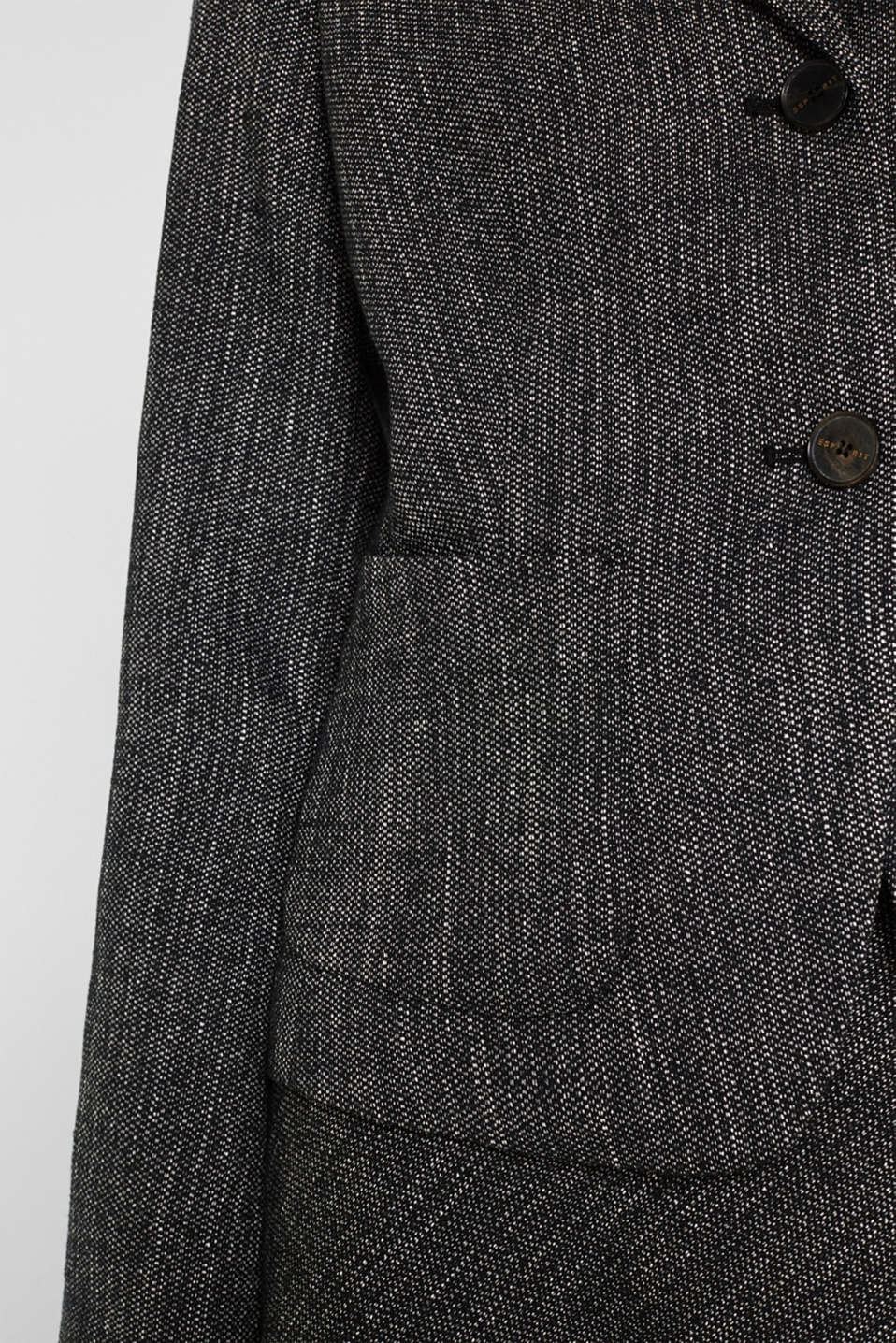 Blazer in a salt and pepper look, BLACK 2, detail image number 5