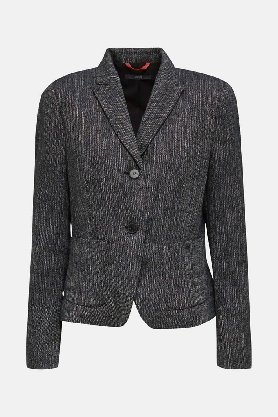 Blazer in a salt and pepper look, BLACK 2, detail image number 8