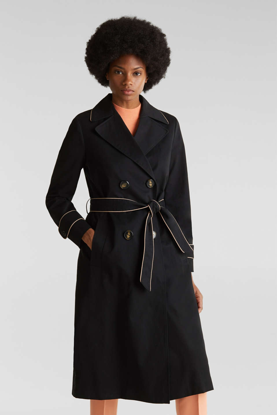 Padded trench coat with contrast piping, BLACK, detail image number 0