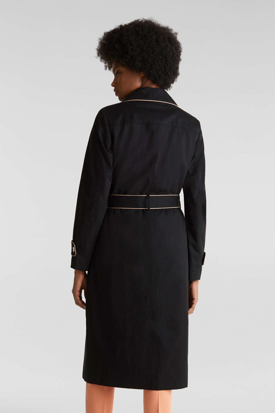 Padded trench coat with contrast piping, BLACK, detail image number 3