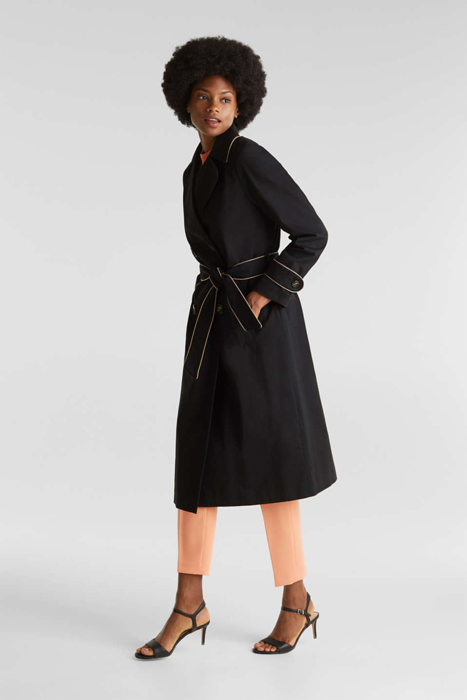 Padded trench coat with contrast piping, BLACK, detail image number 6