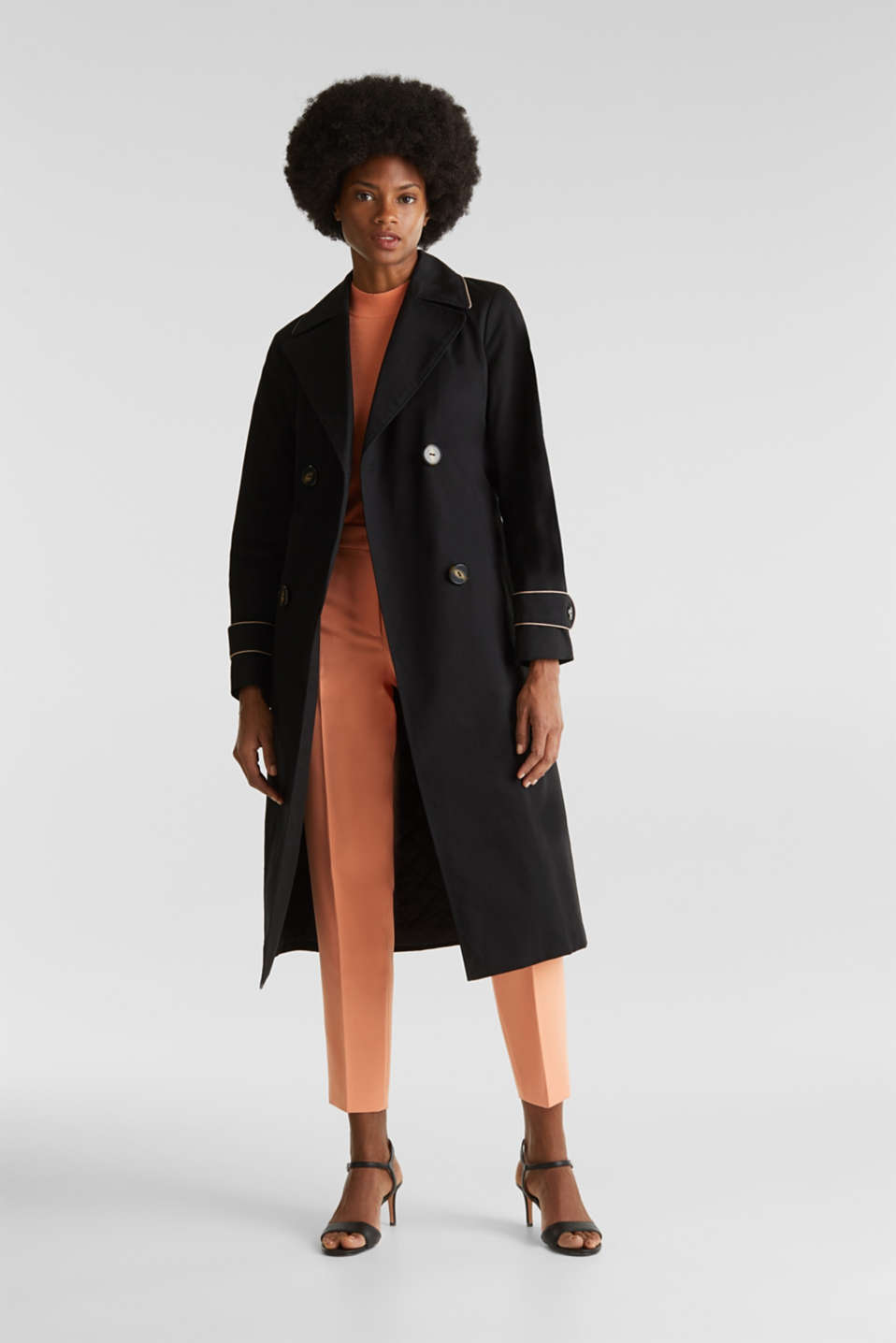 Padded trench coat with contrast piping, BLACK, detail image number 1