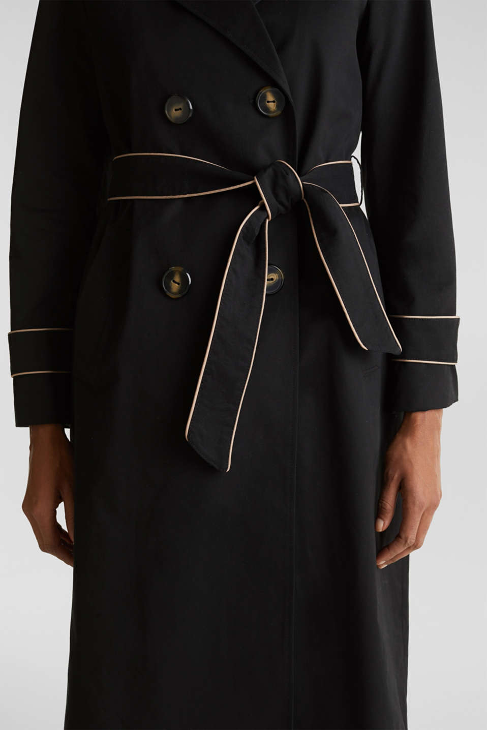 Padded trench coat with contrast piping, BLACK, detail image number 2