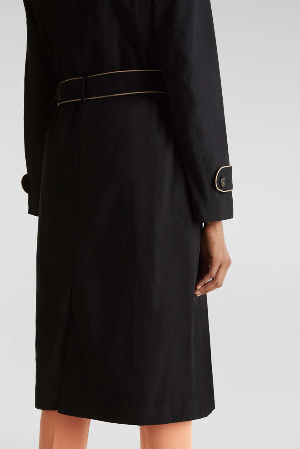 Padded trench coat with contrast piping, BLACK, detail image number 5