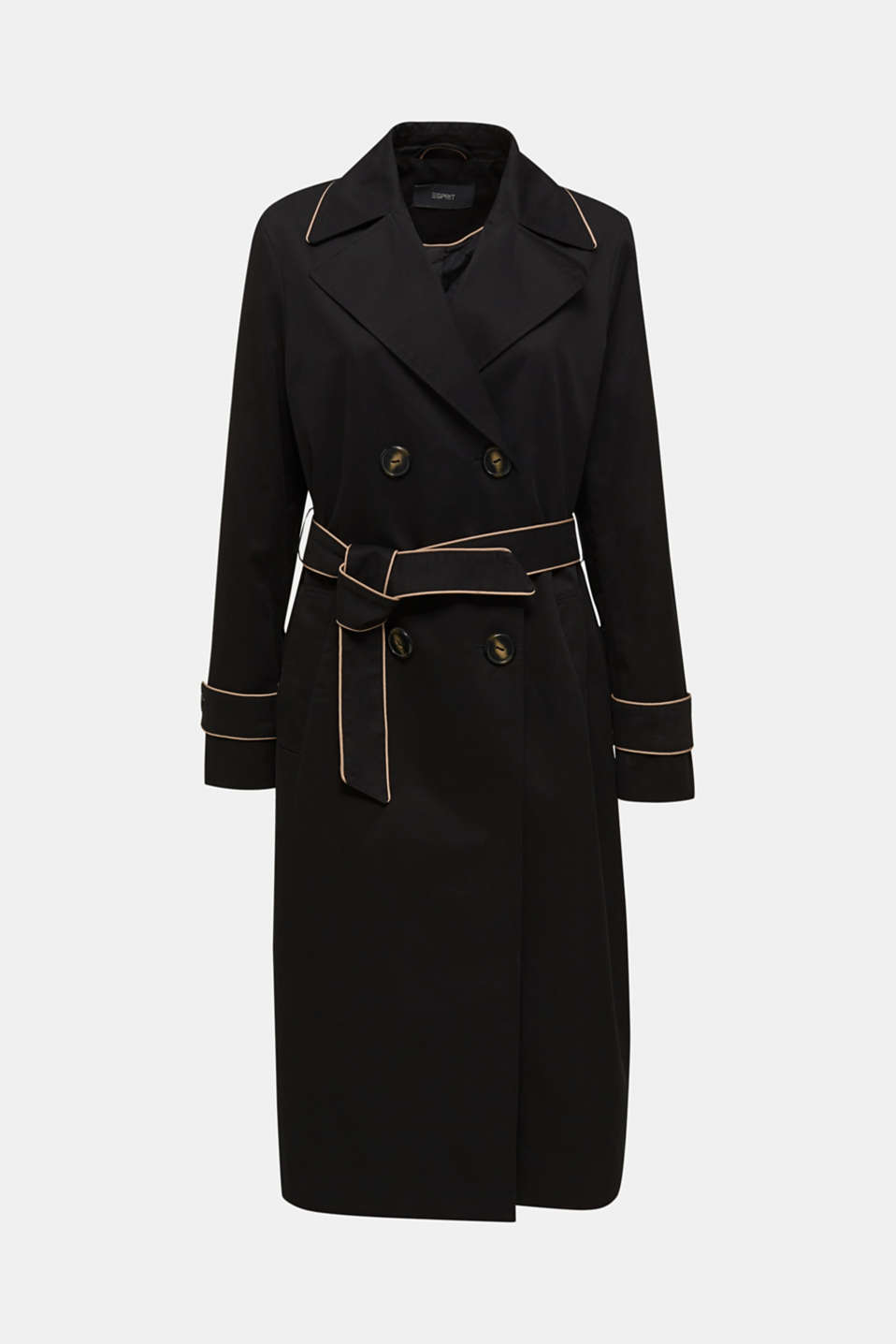 Padded trench coat with contrast piping, BLACK, detail image number 7