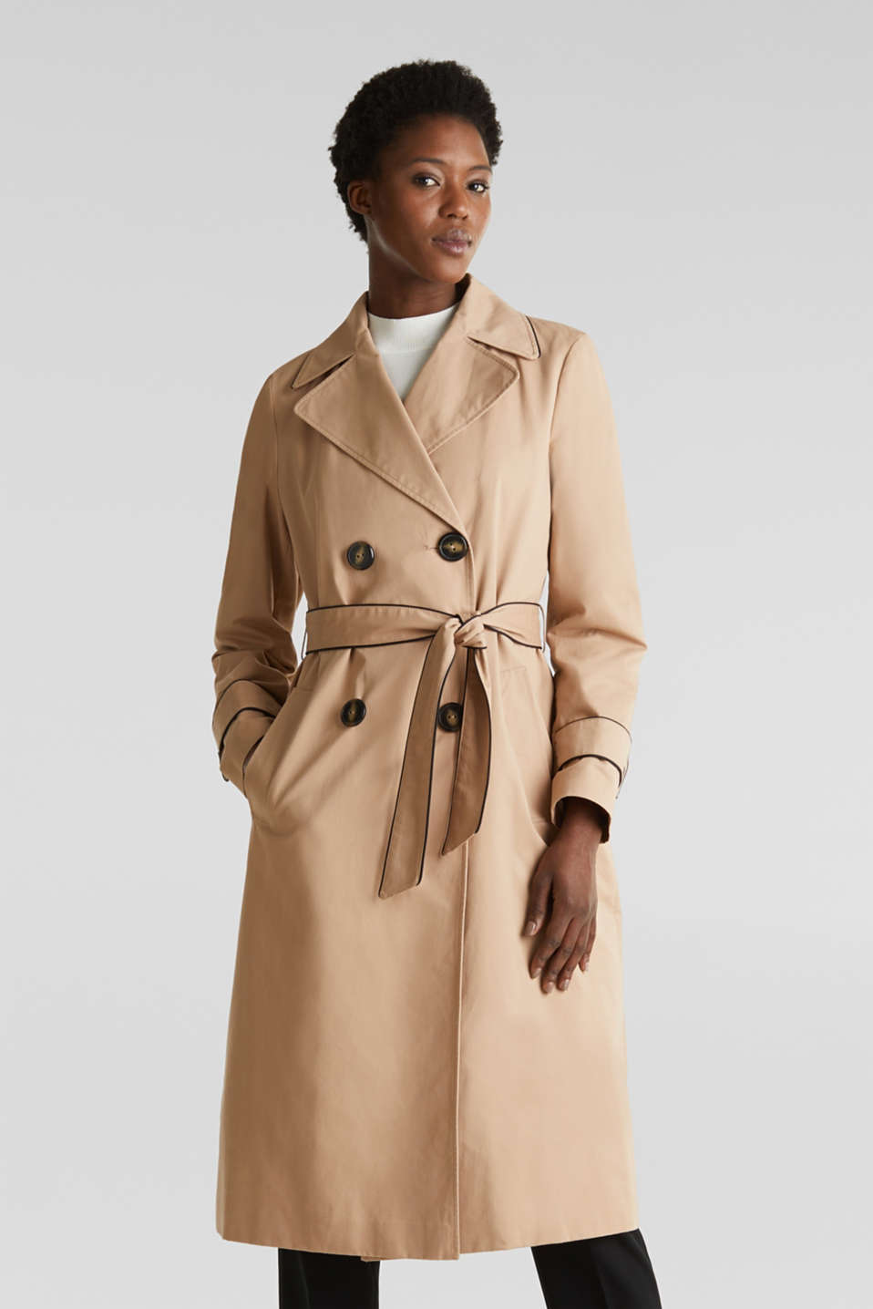 Padded trench coat with contrast piping, BEIGE, detail image number 0