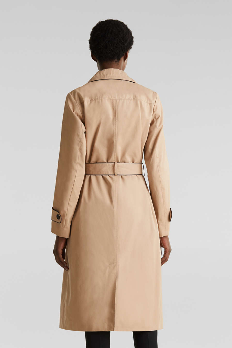 Padded trench coat with contrast piping, BEIGE, detail image number 3