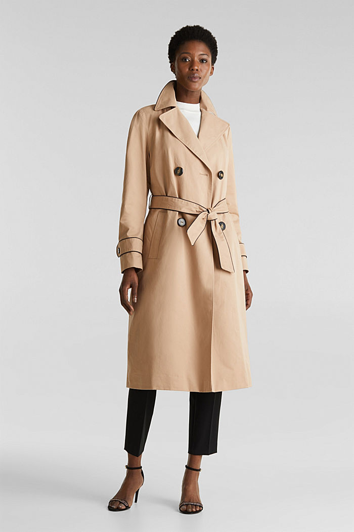 Padded trench coat with contrast piping, BEIGE, detail image number 1