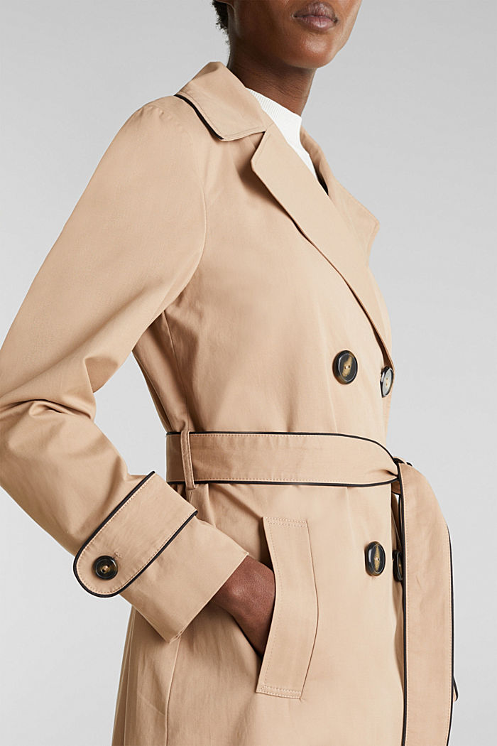 Padded trench coat with contrast piping, BEIGE, detail image number 2