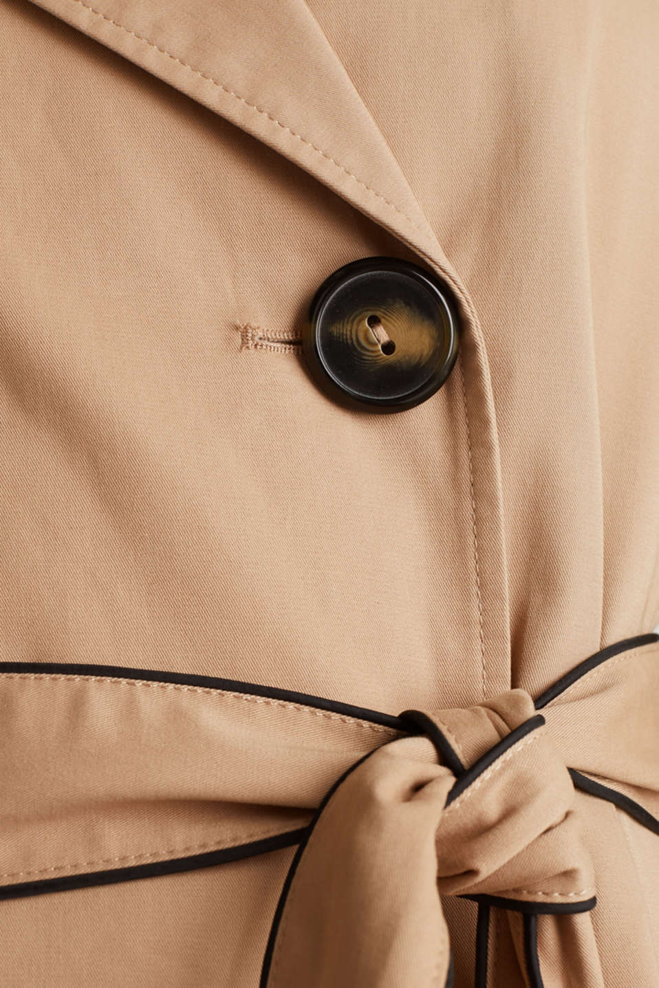 Padded trench coat with contrast piping, BEIGE, detail image number 4