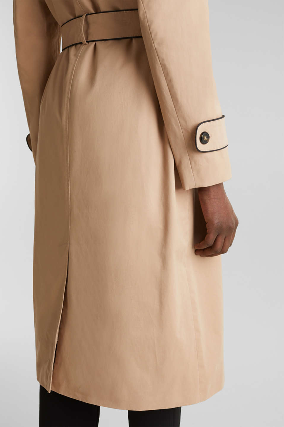 Padded trench coat with contrast piping, BEIGE, detail image number 5