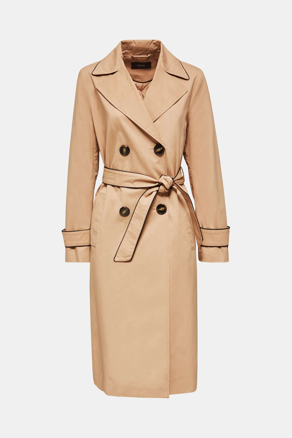 Padded trench coat with contrast piping, BEIGE, detail image number 7