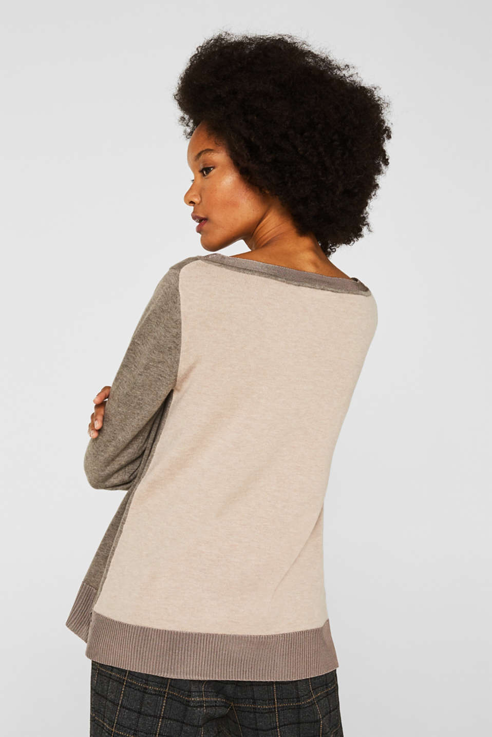 With silk: jumper with shiny details, LIGHT TAUPE 3, detail image number 2