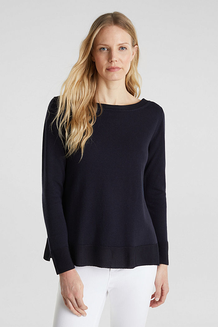 With silk: jumper with shiny details, NAVY, detail image number 0