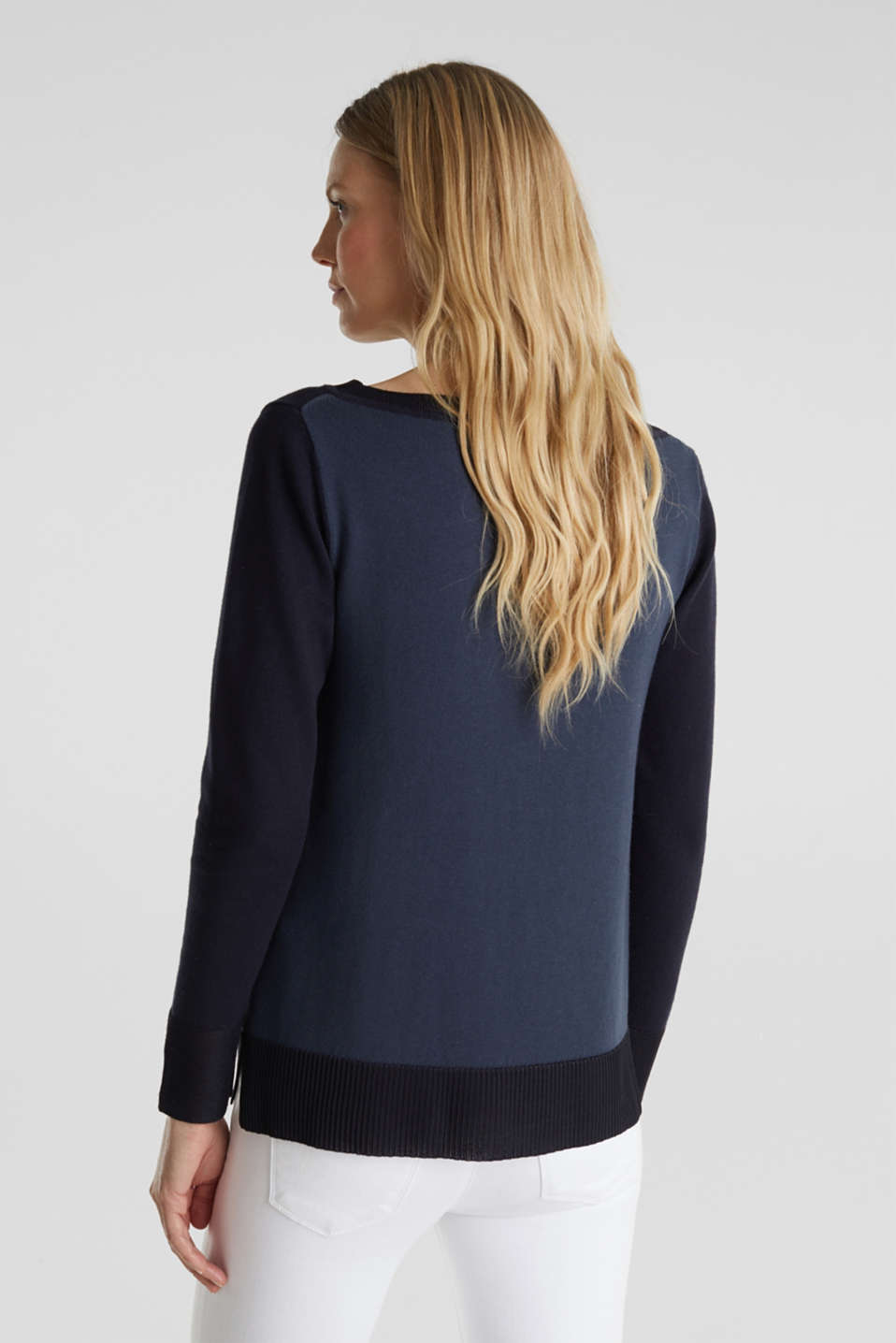 With silk: jumper with shiny details, NAVY 3, detail image number 3